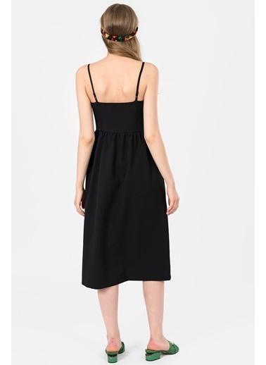 İroni Önden Düğmeli Askılı Midi Elbise Siyah